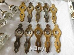 Antique salvage art deco glass door knobs doorknobs plates crystal 12 points old