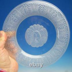 Art Deco Reijmyre Crystal Glass Sweden 8 Lion Design Glass Plates 9¼ inches