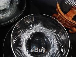 Art Deco Steuben Crystal Frederick Carder 7666 Cut 6 Finger Bowls 5 Plates