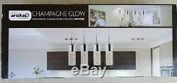 Artika Champagne Glow 4-Light Pendant Fixture Chrome Plated Premium Crystal Glas