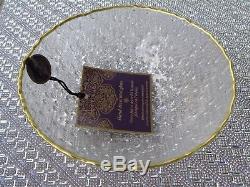 Artistic Accents CLEAR Glass Bubble GOLD TRIM 12 PC DINNERWARE SET PLATES BOWLS