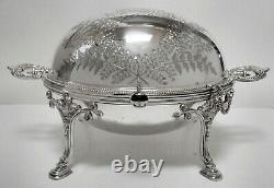 Atq VICTORIAN Slv Plate PICKLE CASTOR wFORK & LID +CLEAR ETCHED GLASS JAR INSERT