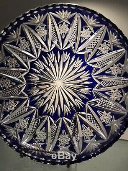 BOHEMIAN CZECH LARGE COBALT BLUE CUT TO CLEAR LARGE 12 In Diameter Plate