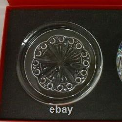 Baccarat ROSACE Pattern Crystal Wine Bottle Coaster Plates Signed Set of 2