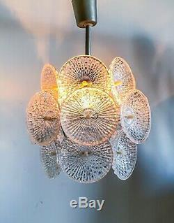 Beautiful 1960s Chandelier and Sconce with Ornament Structured Glass Plates