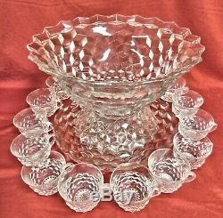 Beautiful 26 Piece Fostoria American Punch Bowl, Pedestal Base, Plate, 23 Cups