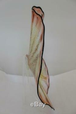 Beautiful Hand Blown Glass Art Wall Platter Bowl Plate 8973 RED CLEAR ONEIL