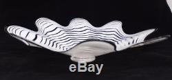 Beautiful Hand Blown Glass Art Wall Platter Bowl Plate white / clear 8615 ONEIL