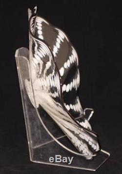 Beautiful Hand Blown Glass Art Wall Platter Bowl Plate white / clear 8616 ONEIL