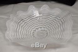 Beautiful Hand Blown Glass Art Wall Platter Bowl Plate white / clear 8619 ONEIL