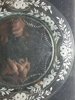 Beautiful Set of 6 Signed Sinclaire Cut & Floral Engraved Glass Plates 8 1/4