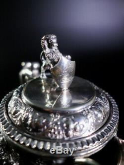 Bell Shaped Glass Claret Jug/ Decanter With A Cast, Silver Plated English Style