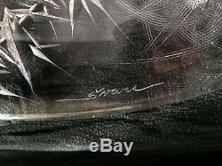 Bohemian/Czech Art Glass/Crystal, JOSEF SVARC THISTLE, 15 1/4 ROUND BOWL