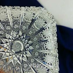 Bohemian Czech Crystal Serving Platter and 6 Matching Snack Plates