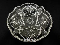Bohemian Czech EGERMANN crystal glass diamond cut clear serving tray plate cake