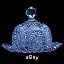 Butter Plate and Dome Butter Dish Antique American Brilliant Cut Glass (5255)