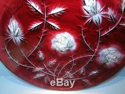 CAESAR CRYSTAL J. Svarc Red Roses Plate Bowl Cut to Clear Overlay Czech Bohemian