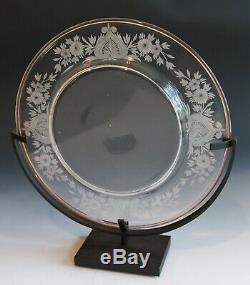 CARDER STEUBEN engraved plate VAN DYKE pattern SUPERB Rosa rim 8 1/2