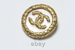 CHANEL Paris Fall 1993 CC Gold Plated Clear Glass Round Logo Brooch