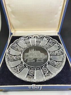 CZECH Antique Cut Glass Plate / Bowl Prague Saint Titus Cathedral Custom Box
