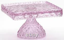 Cake Plate Pastry Tray Bakers Stand Elizabeth Mosser USA Passion Pink Glass
