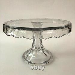 Cake Stand EAPG Clear Sawtooth Scalloped Pedestal Plate Antique Pressed Vintage