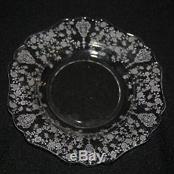 Cambridge Rose Point (6) 3400/63 9 1/2 in. Dinner Plates, Good Condition