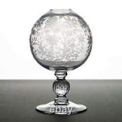 Cambridge Wildflower Footed Ivy Ball Vase, Elegant Etched Glass Footed Rose Bowl