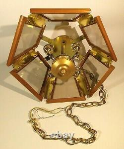 Chandelier Lamp 6 Wood Panels Glass Brass 4 Lights Chain Plate Mount Swag Shade
