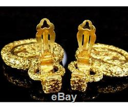 Chanel Vintage Byzantine Clear Glass Plate CC Logo Gold Large Circle Earrings