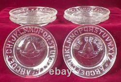 Childs Ice Cream Set Platter 6 Plates Cone Alphabet Leaves Clear Antique EAPG