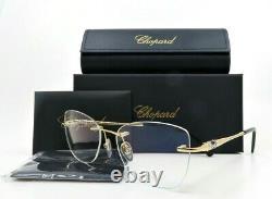 Chopard VCHB71S 0E66 Rimless Gold Plates Rhinestones New Rx. Glasses 53mm