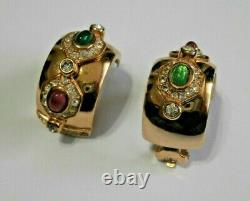 Christian DIOR Signed Gold Plated Hoop Earrings Emerald & Ruby Cabochon Crystals