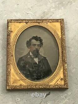Civil War Era Photo 1/4 Plate Clear Glass Ambrotype Portrait Soldier Daughter