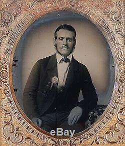 Civil War Man Wearing Succession Cockade 1/6 Plate Clear Glass Ambrotype A220