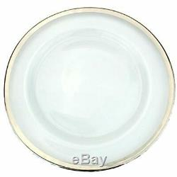 Clear Charger & Service Plates Glass 13 Inch Dinner With Metallic Rim Set Of 4