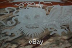 Clear Crystal Etched Dragon 12.5 D Footed Compote Dish, Cake Plate-Stuben