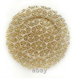 Clear Glass Charger Plates Gold Electroplated, Set of 4