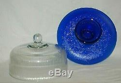 Cobalt Blue Cup Cake Stand Ribbed Clear Glass Dome Pedestal Desert Serving Plate
