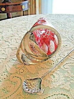 Cranberry Cut to Clear Crystal & silver plate Cocktail Pitcher / Shaker withSpoon