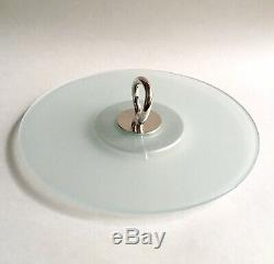 Cristofle Vertigo Silver Plate & Frosted Glass Cheese / Appetizer Tray 12