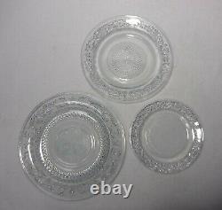 Crystal Clear IDUSTRIES Sandwich Glass 12 Dinner 12 Salad Plates & 11 Soup Bowls