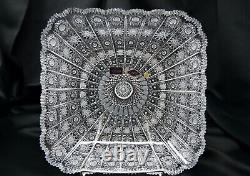 Crystal Glass Bowl 11 Hand Cut Czech Bohemia Plate Fruit Desert Sweets Gift NEW