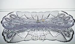 Crystal Glass Dish Plate 12 Hand Cut Fruits Nuts Bohemian Crystal Vintage