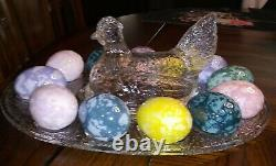 Crystal Hen on Nest Egg Plate withBlown Multicolored Eggs 12.25L Vintage LE Smith