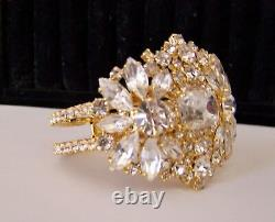 Czech Crystal Clear Gold Plated Rhinestone Glass Couture Bridal Clamper Bracelet