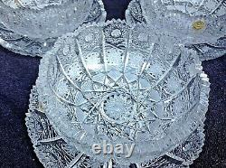 Czech bohemia crystal cut glass Ice cream set plate 14cm 6x + bowl 12cm 6x
