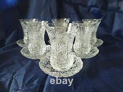 Czech bohemia crystal glass Tea, coffee set 6x glasses + 6x plate