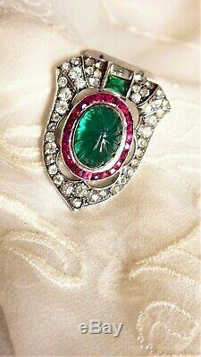 Deco Rhodium Plate Brooch Pin Emerald Green Cabochon Red/Clear Shield shape pin