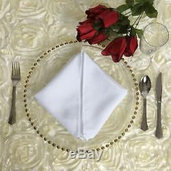 Decorative Glass Charger Plates Clear Gold Beaded for Wedding Event Dinner Table
